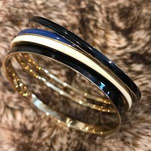 J. Crew acrylic bangles in black, blue, and cream